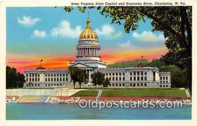 cap002386 - West Virginia State Capitol & Kanawha River Charleston, W VA, USA Postcard Post Card