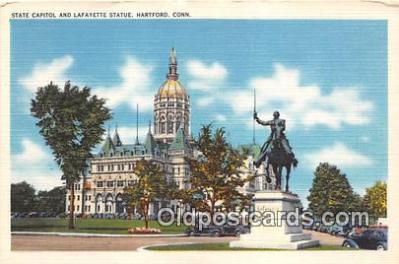 cap002495 - State Capitol & Lafayette Statue Hartford, Connecticut, USA Postcard Post Card