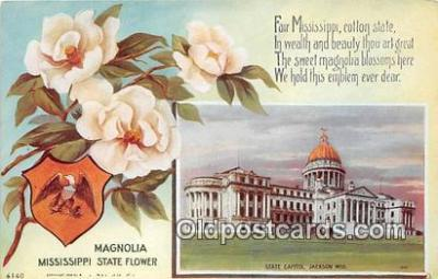 cap002497 - Magnolia, Mississippi State Flower, State Capitol Jackson, Miss, USA Postcard Post Card