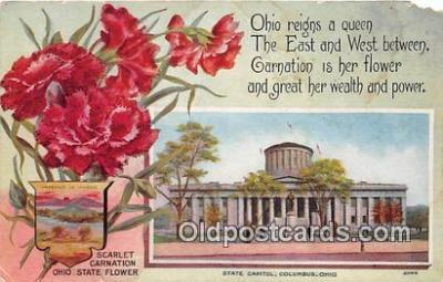 cap002522 - Scarlet Carnationa, State Capitol Columbus, Ohio, USA Postcard Post Card