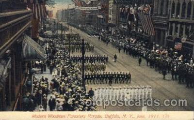 car001058 - Modern Woodman Parade, Buffalo, New York, N.Y., USA 1911 Carnival Parade, Parades Postcard Post Card
