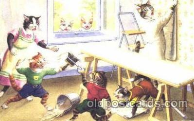 cat000184 - Artist Alfred Mainzer, Cat, Cats  Postcard Post Card