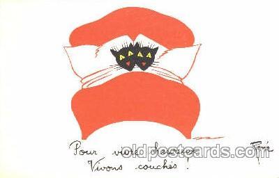 cat001226 - Artist Rene, Cat, Cats Postcard Post Card
