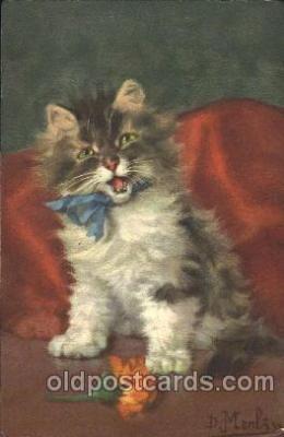 cat001244 - Artist Merlin Cat, Cats Postcard Post Card