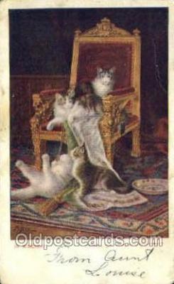 cat001737 - Cat Cats, Old Vintage Antique Postcard Post Card