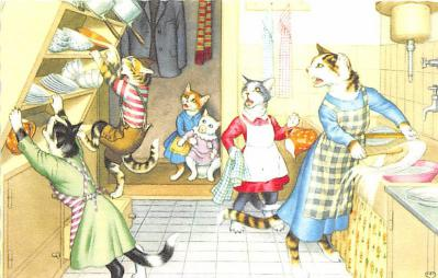 cat254245 - Cat Post Card Old Vintage Antique