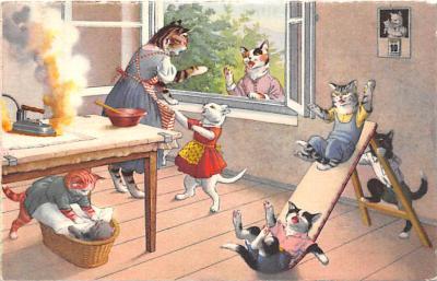 cat254251 - Cat Post Card Old Vintage Antique