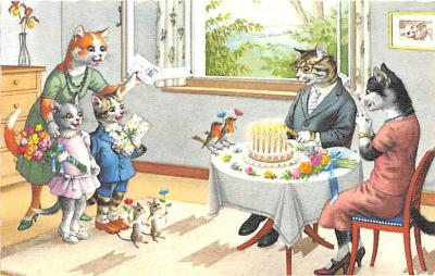 cat254259 - Cat Post Card Old Vintage Antique