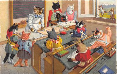cat254281 - Cat Post Card Old Vintage Antique
