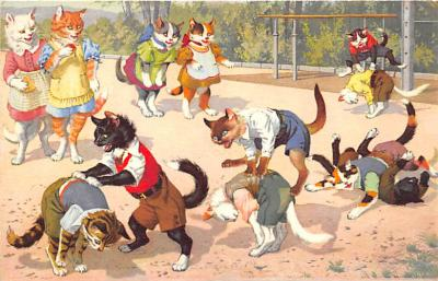 cat254286 - Cat Post Card Old Vintage Antique
