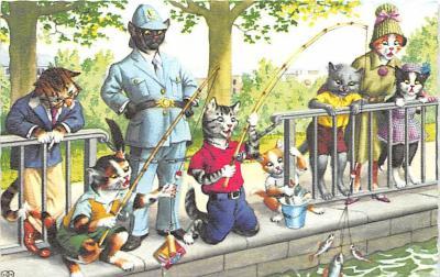 cat254300 - Cat Post Card Old Vintage Antique