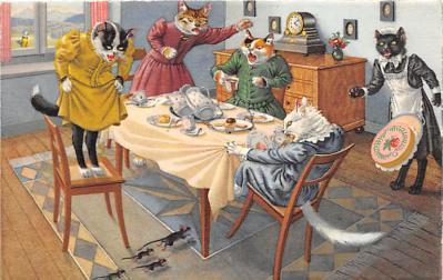 cat254305 - Cat Post Card Old Vintage Antique