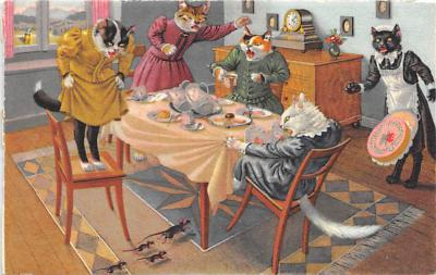 cat254324 - Cat Post Card Old Vintage Antique