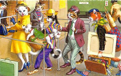 cat254346 - Cat Post Card Old Vintage Antique