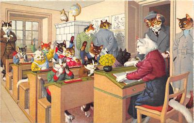 cat254372 - Cat Post Card Old Vintage Antique