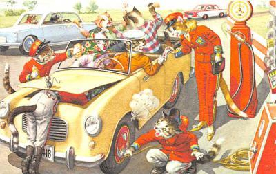 cat254392 - Cat Post Card Old Vintage Antique
