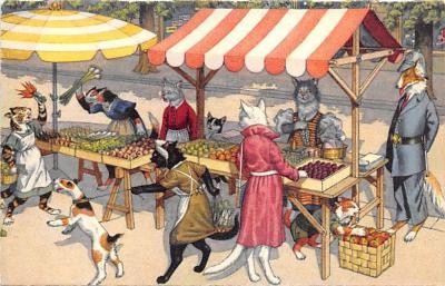 cat254398 - Cat Post Card Old Vintage Antique