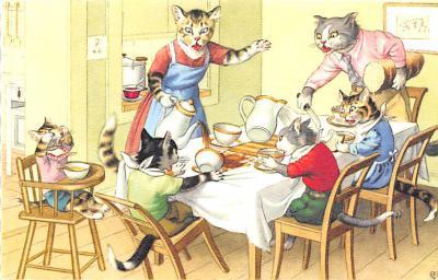 cat254408 - Cat Post Card Old Vintage Antique