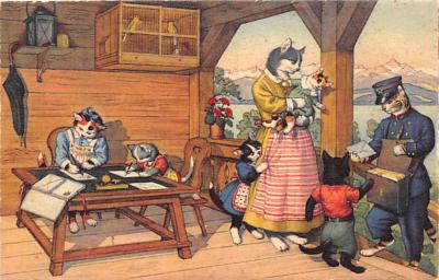cat254457 - Cat Post Card Old Vintage Antique