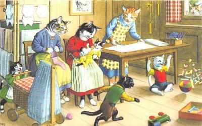 cat254466 - Cat Post Card Old Vintage Antique