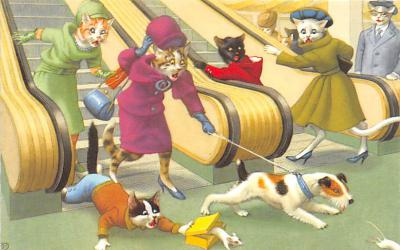 cat254467 - Cat Post Card Old Vintage Antique