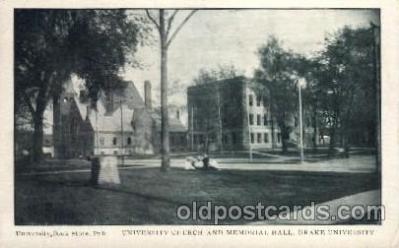 cau001018 - Drake University USA University Church & Memorial Hall Old Vintage Antique Post Card Post Card