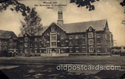 cau001022 - The U of Connecticut Storrs Whitney Hall Old Vintage Antique Post Card Post Card