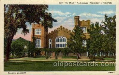cau001055 - U of Colorado, Boulder, CO. USA The Macky Auditorium Old Vintage Antique Post Card Post Card