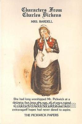 chd100021 - Reproductions - Characters from Charles Dickens Mrs Bardell, Pickwick Papers Postcard Post Card