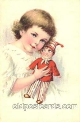chi001076 - Children with Doll Postcard Post Card