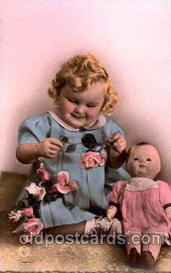 chi001081 - Children with Doll Postcard Post Card