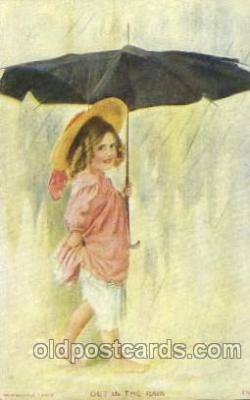 chi002143 - Out in the Rain Children, Child, Postcard Post Card