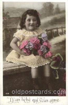 chi002182 - Girl with flower Children, Child, Postcard Post Card
