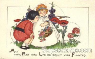 chi002227 - Girl and flower Artist Margaret Price, Children, Child, Postcard Post Card