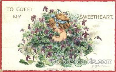 chi002228 - Girl in the pool Artist J. Johnson Children, Child, Postcard Post Card