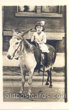 chi004025 - Child Children on Donkey Postcard Post Card