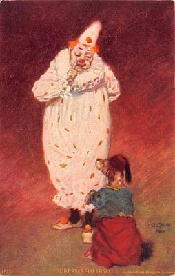 cir007249 - Dress Rehersal Circus Clown Post Card