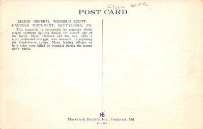 civ002143 - Civil War Post Card Old Vintage Antique Postcard  back