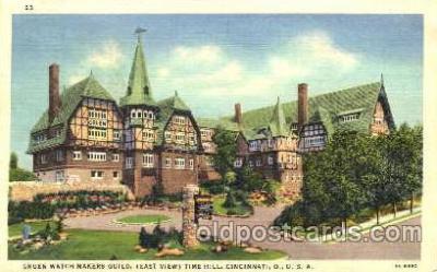 clk001001 - Gruen Watch Makers Guild (East View) Time Hill, Cincinnati, Ohio USA Postcard Post Card