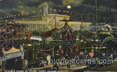 cny001013 - Steeplechase, Coney Island, NY USA Coney Island Amusement Park Postcard Post Card