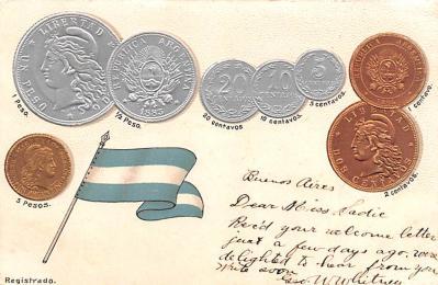 con002021 - Coin Postcard, Old Vintage Antique