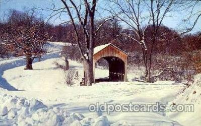 cou001046 - Brief Buckeye Bridge, Columbiana County, Ohio, USA Covered Bridge Bridges, Postcard Post Card