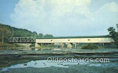 cou100248 - Grand, Harpersfield, OH USA Covered Bridge Postcard Post Card Old Vintage Antique
