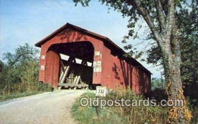 cou100266 - Athens Co, OH USA Covered Bridge Postcard Post Card Old Vintage Antique