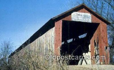 cou100383 - Old Red, Gibson Co, IN USA Covered Bridge Postcard Post Card Old Vintage Antique