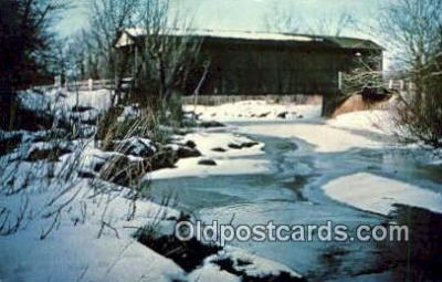 cou100422 - Ashtabula Co, OH USA Covered Bridge Postcard Post Card Old Vintage Antique