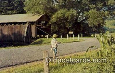 cou100430 - Fitch's, Delhi, NY USA Covered Bridge Postcard Post Card Old Vintage Antique