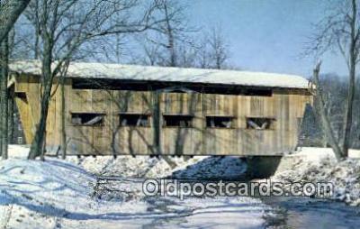 cou100451 - Jasper Road, Greene Co, OH USA Covered Bridge Postcard Post Card Old Vintage Antique