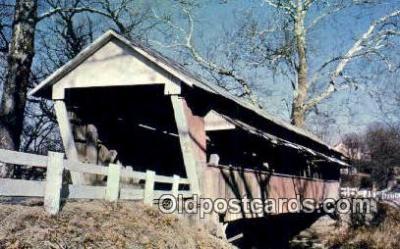 cou100465 - Leonard or Basil, Fairfield Co, OH USA Covered Bridge Postcard Post Card Old Vintage Antique