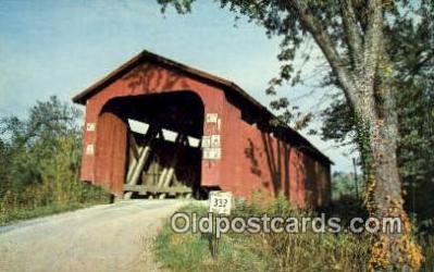cou100479 - Athens Co, OH USA Covered Bridge Postcard Post Card Old Vintage Antique